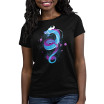 Galactic Dragon Women's t-shirt model TeeTurtle black t-shirt featuring a curly blue and purple dragon with constellations on its body with purple planets surround him