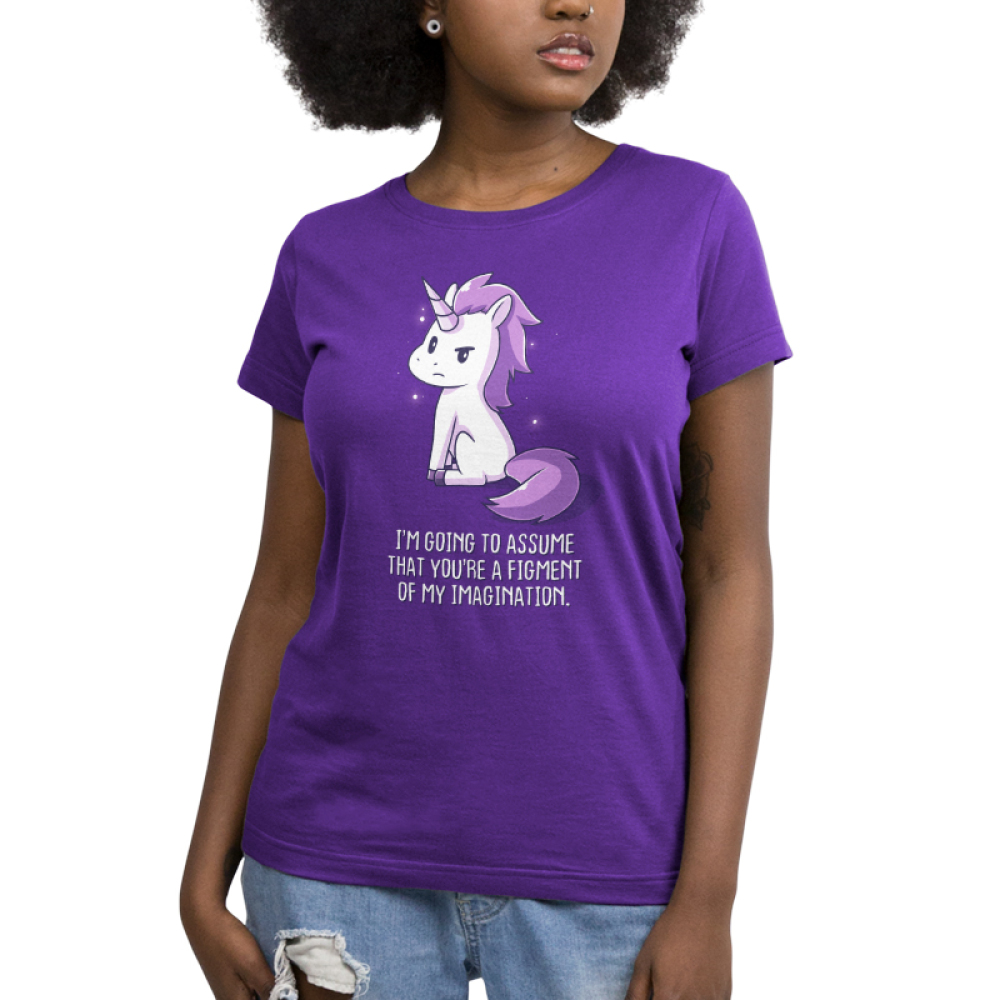 You're a Figment of My Imagination Women's t-shirt model TeeTurtle purple t-shirt featuring a sassy looking white and purple unicorn
