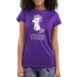 You're a Figment of My Imagination Junior's t-shirt model TeeTurtle purple t-shirt featuring a sassy looking white and purple unicorn