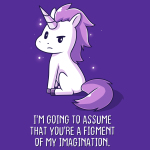 You're a Figment of My Imagination t-shirt TeeTurtle purple t-shirt featuring a sassy looking white and purple unicorn