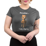 Peculiar... I Am, That Is. Junior's t-shirt model TeeTurtle charcoal t-shirt featuring an otter sitting on a stool with one arm on his chin wearing a monocle