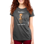 Peculiar... I Am, That Is. Women's t-shirt model TeeTurtle charcoal t-shirt featuring an otter sitting on a stool with one arm on his chin wearing a monocle
