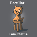 Peculiar... I Am, That Is. t-shirt TeeTurtle charcoal t-shirt featuring an otter sitting on a stool with one arm on his chin wearing a monocle