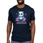 Give Me Glitter or Give Me Death Men's t-shirt model TeeTurtle navy t-shirt featuring a cheerful panda with jars of glitter in his hands with piles pf pink glitter around him