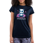 Give Me Glitter or Give Me Death Junior's t-shirt model TeeTurtle navy t-shirt featuring a cheerful panda with jars of glitter in his hands with piles pf pink glitter around him