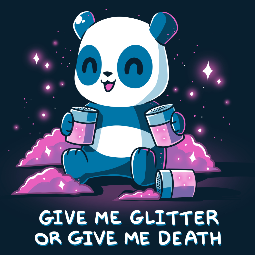 Give Me Glitter or Give Me Death t-shirt TeeTurtle navy t-shirt featuring a cheerful panda with jars of glitter in his hands with piles pf pink glitter around him
