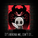 It's Behind Me, Isn't It... t-shirt TeeTurtle black t-shirt featuring a panda in a castle window holding a sword with a black and red monster behind him