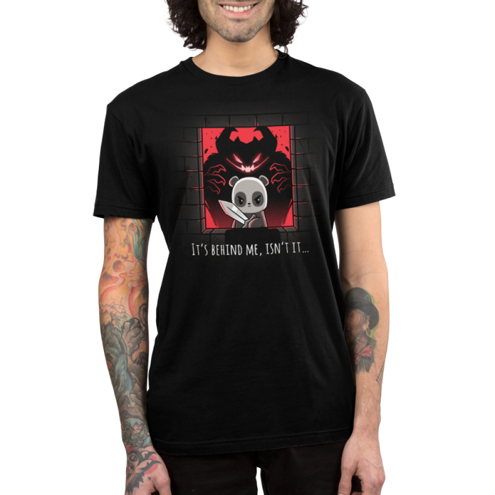 It's Behind Me, Isn't It... Men's t-shirt model TeeTurtle black t-shirt featuring a panda in a castle window holding a sword with a black and red monster behind him