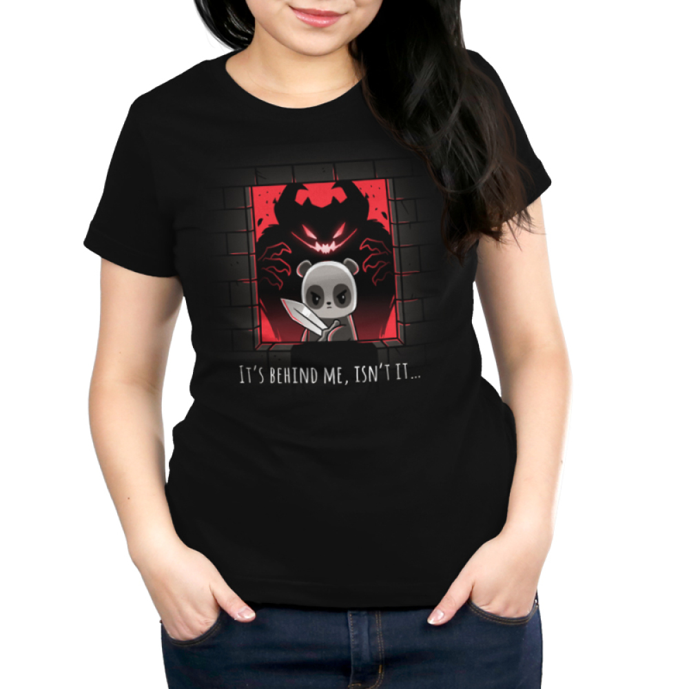 It's Behind Me, Isn't It... Women's t-shirt model TeeTurtle black t-shirt featuring a panda in a castle window holding a sword with a black and red monster behind him