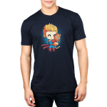 BFFs (Captain Marvel and Chewie) Men's t-shirt model officially licensed Marvel t-shirt featuring Captain Marvel smiling and hugging Chewie very tight