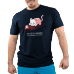 My Cat is a Demon Men's t-shirt model TeeTurtle navy t-shirt featuring a white cat hunched down looking at a cup of coffee