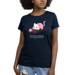 My Cat is a Demon Women's t-shirt model TeeTurtle navy t-shirt featuring a white cat hunched down looking at a cup of coffee