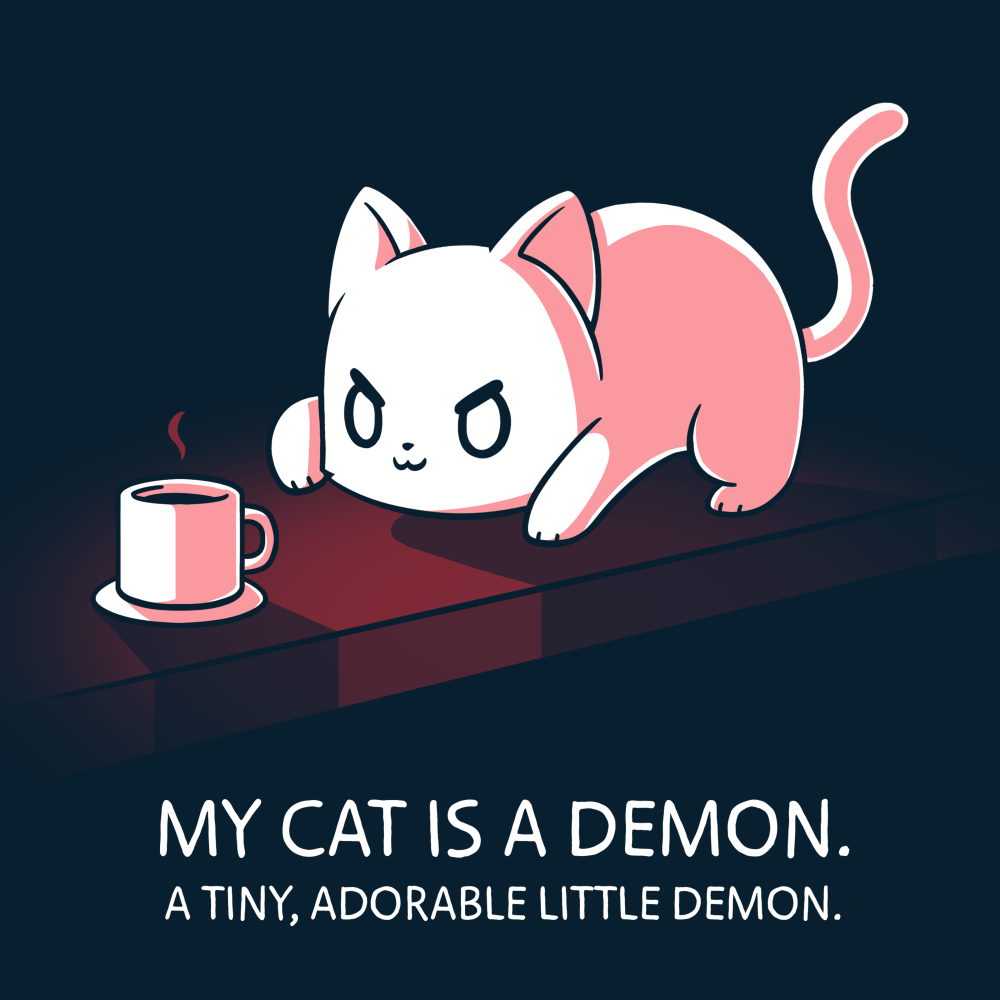 My Cat is a Demon t-shirt TeeTurtle navy t-shirt featuring a white cat hunched down looking at a cup of coffee