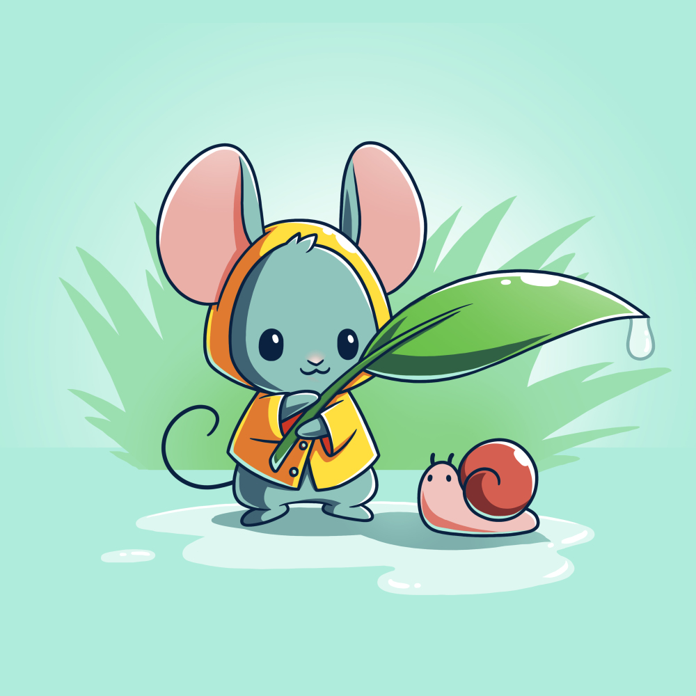 Rain Drops t-shirt TeeTurtle chill blue t-shirt featuring a little mouse in a yellow raincoat holding a leaf with a water drop off the end over a tiny snail