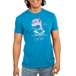 Flip Off (Dolphin) Men's t-shirt model TeeTurtle cobalt blue t-shirt featuring a dolphin jumping out of the water holding up his fin which is blurred out