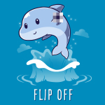 Flip Off (Dolphin) t-shirt TeeTurtle cobalt blue t-shirt featuring a dolphin jumping out of the water holding up his fin which is blurred out