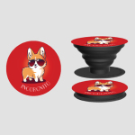 Incorgnito PopSocket TeeTurtle red PopSocket feeaturing a corgi with sunglasses on