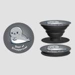 Seal of Disapproval PopSocket TeeTurtle charcoal PopSocket featuring a gray seal with its fins crossed