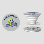 I Lovecrafting PopSocket TeeTurtle light gray PopSocket featuring a cthulhu sitting on the floor surrounded by crafts