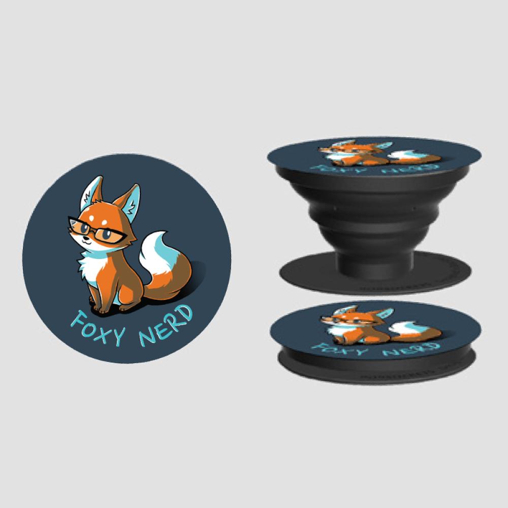 Foxy Nerd PopSocket TeeTurtle original navy PopSocket featuring a fox in glasses