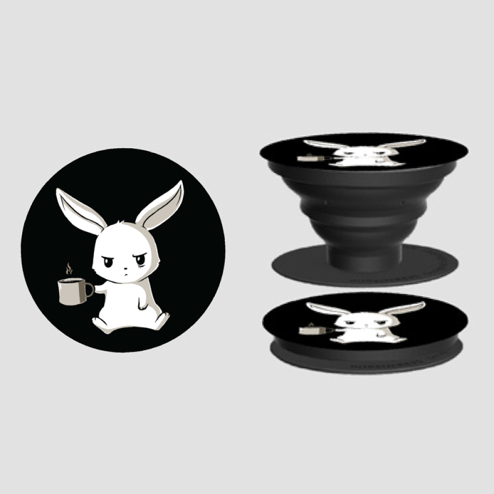 Too Early PopSocket TeeTurtle black PopSocket featuring a tired looking white bunny holding a cup of coffee