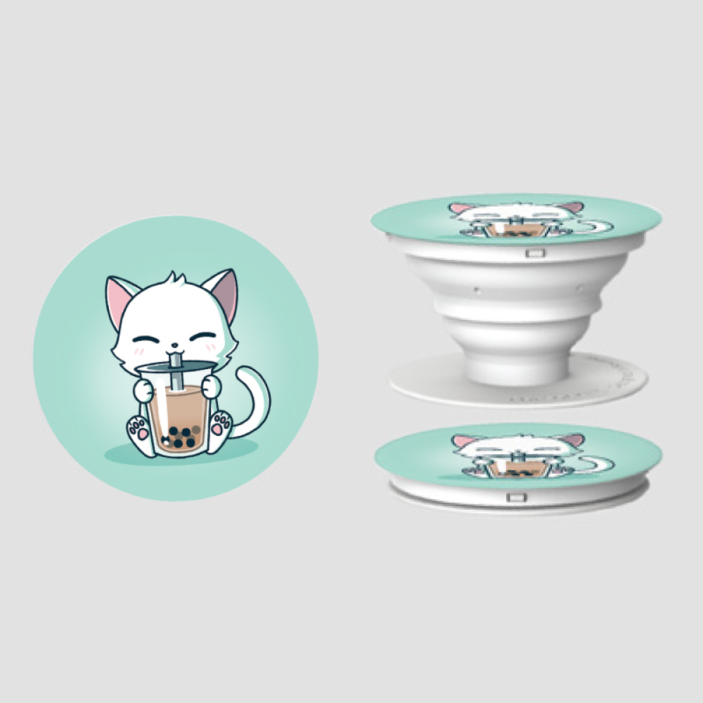 Boba Cat PopSocket TeeTurtle light turquoise PopSocket featuring a white smiley cat with its paws around a big cup of boba