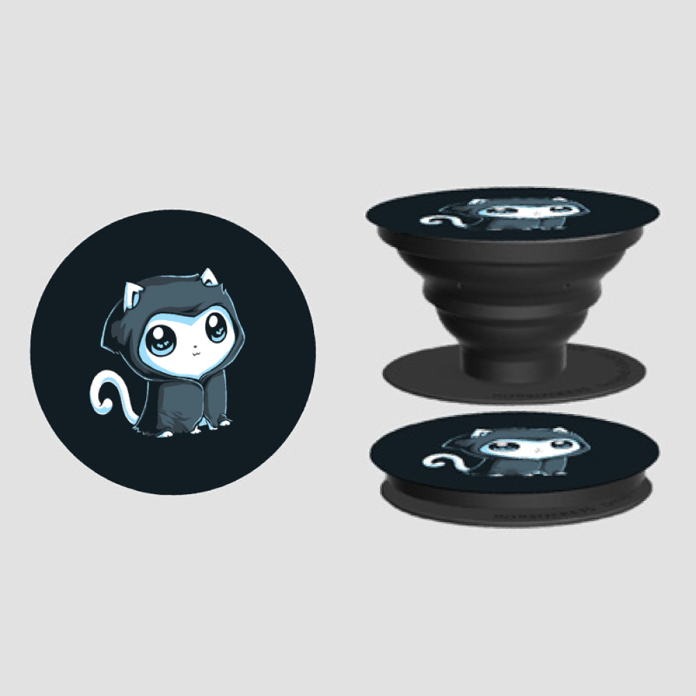 Grim Kitty PopSocket TeeTurtle black PopSocket featuring a white cat with big eyes and a black cloak with a hood on