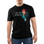 """Salty Mermaid Men's t-shirt TeeTurtle Black t-shirt featuring a mermaid with red hair, with the right side shaved in an alternative style. Her arms are crossed and she looks skeptical. She has piercings in her ears and on her tail, which is turquoise. To the left of her it says """"I don't want to be where the people are"""" in white with a line under the word don't. There are air bubbles scattered around her."""