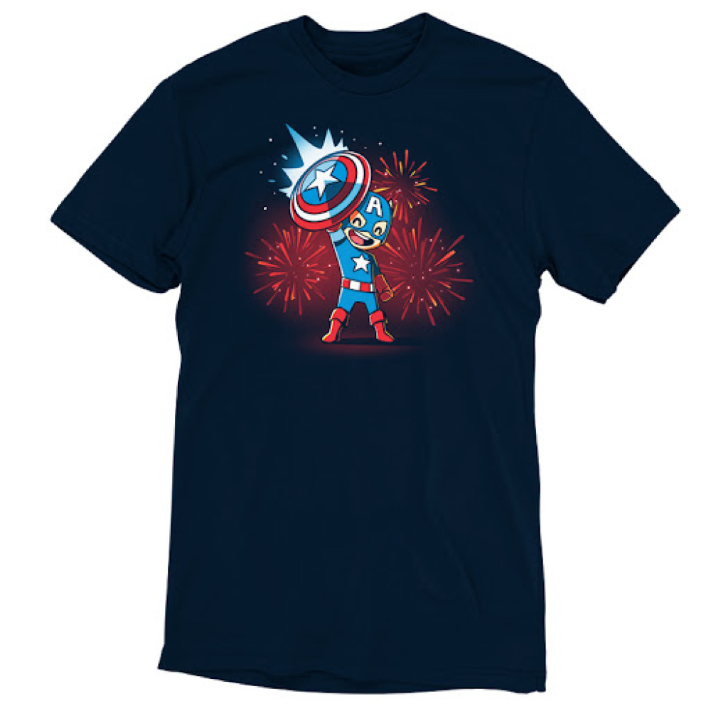 American Hero t-shirt officially licensed navy Marvel t-shirt featuring Captain America holding up his shield with fire works behind him