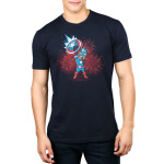 American Hero Men's t-shirt model officially licensed navy Marvel t-shirt featuring Captain America holding up his shield with fire works behind him