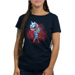 American Hero Women's t-shirt model officially licensed navy Marvel t-shirt featuring Captain America holding up his shield with fire works behind him