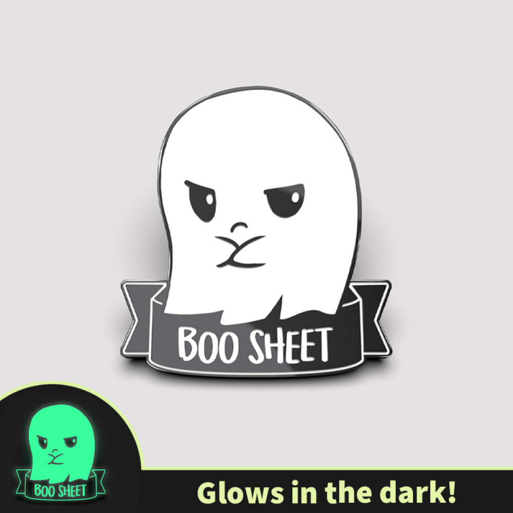 Boo Sheet enamel pin TeeTurtle white and black enamel pin featuring a ghost with its arms crossed