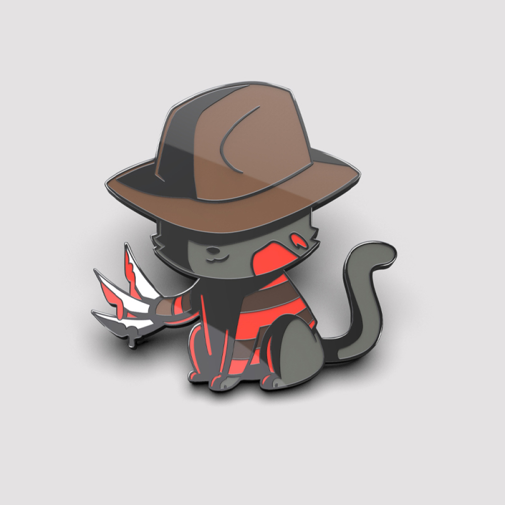 Nightmare Cat pin TeeTurtle pin featuring a gray cat with a brown cat on with blood on him and knives as claws in his right hand