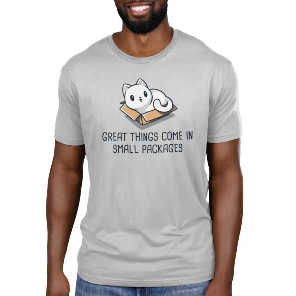 Great Things Come in Small Packages Men's t-shirt model TeeTurtle silver t-shirt featuring a smiling white cat sitting in a brown box