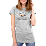 Great Things Come in Small Packages Women's t-shirt model TeeTurtle silver t-shirt featuring a smiling white cat sitting in a brown box