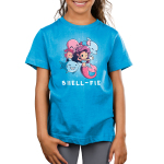 Shell-fie Kid's t-shirt model TeeTurtle cobalt blue t-shirt featuring a mermaid holding up a shell phone winking with a smiling shark, dolphin, two fish, and octopus posing behind her