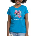 Shell-fie Women's t-shirt model TeeTurtle cobalt blue t-shirt featuring a mermaid holding up a shell phone winking with a smiling shark, dolphin, two fish, and octopus posing behind her