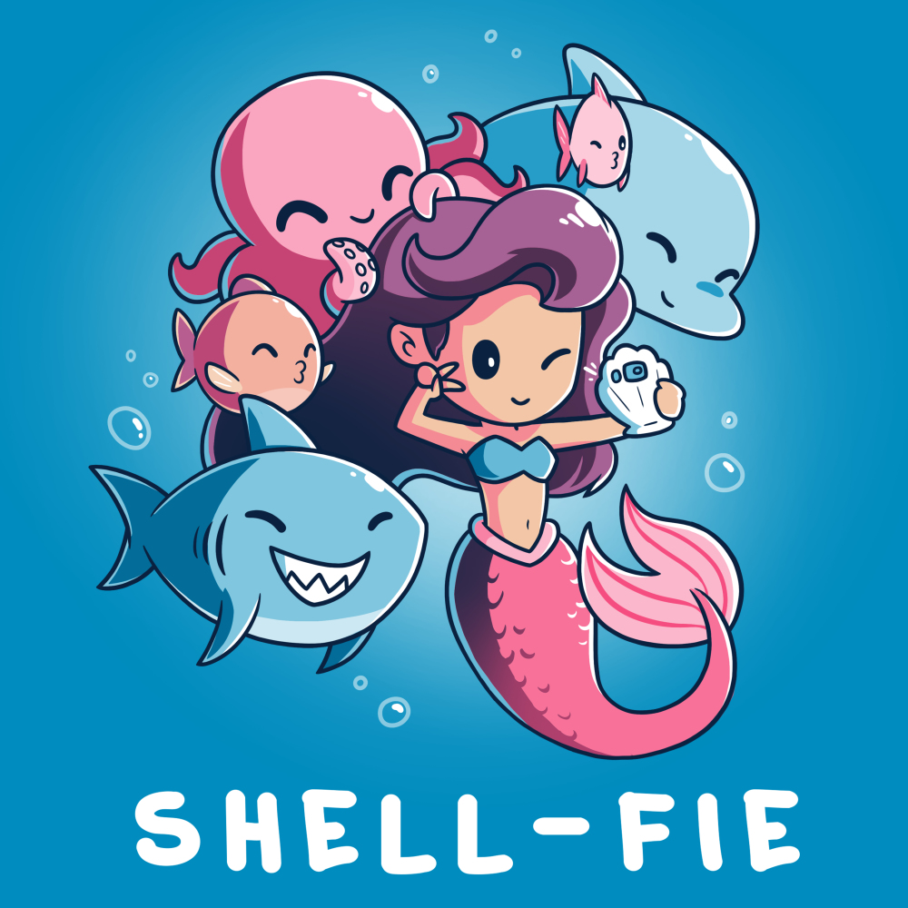 Shell-fie t-shirt TeeTurtle cobalt blue t-shirt featuring a mermaid holding up a shell phone winking with a smiling shark, dolphin, two fish, and octopus posing behind her
