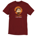 I Have Spoken t-shirt officially licensed garnet red Star Wars t-shirt featuring Kuill from The Mandalorian with his arms crossed with a red sun behind him