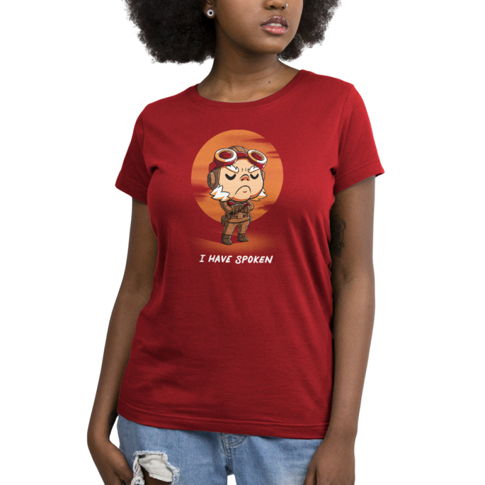 I Have Spoken Women's t-shirt model officially licensed garnet red Star Wars t-shirt featuring Kuill from The Mandalorian with his arms crossed with a red sun behind him
