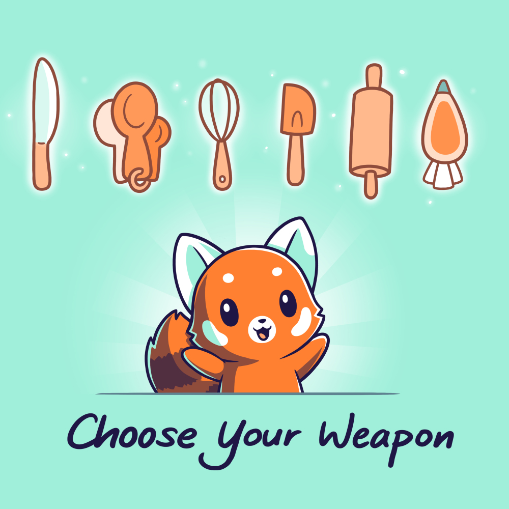 Choose Your Weapon (Baking) t-shirt TeeTurtle chill blue t-shirt featuring a cheerful looking red panda with its arms up and a knife, measuring spoons, whisk, spatula, rolling pin, and frosting bag lined up above him