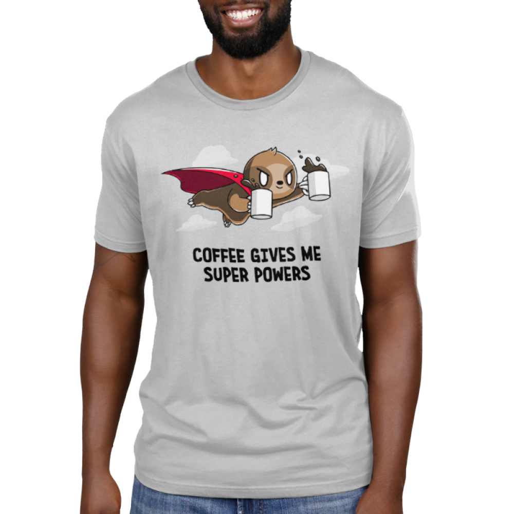 Coffee Gives Me Super Powers Men's t-shirt model TeeTurtle silver t-shirt featuring a sloth with a red cape on holding two mugs full of coffee flying through the air