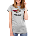 Coffee Gives Me Super Powers Women's t-shirt model TeeTurtle silver t-shirt featuring a sloth with a red cape on holding two mugs full of coffee flying through the air