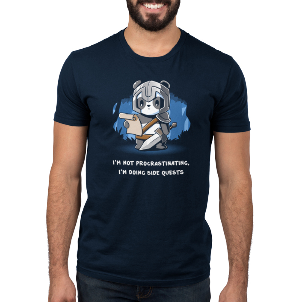 I'm Doing Side Quests Men's t-shirt model TeeTurtle navy t-shirt featuring a panda in a helmet holding a sword and looking down at a scroll in a forest