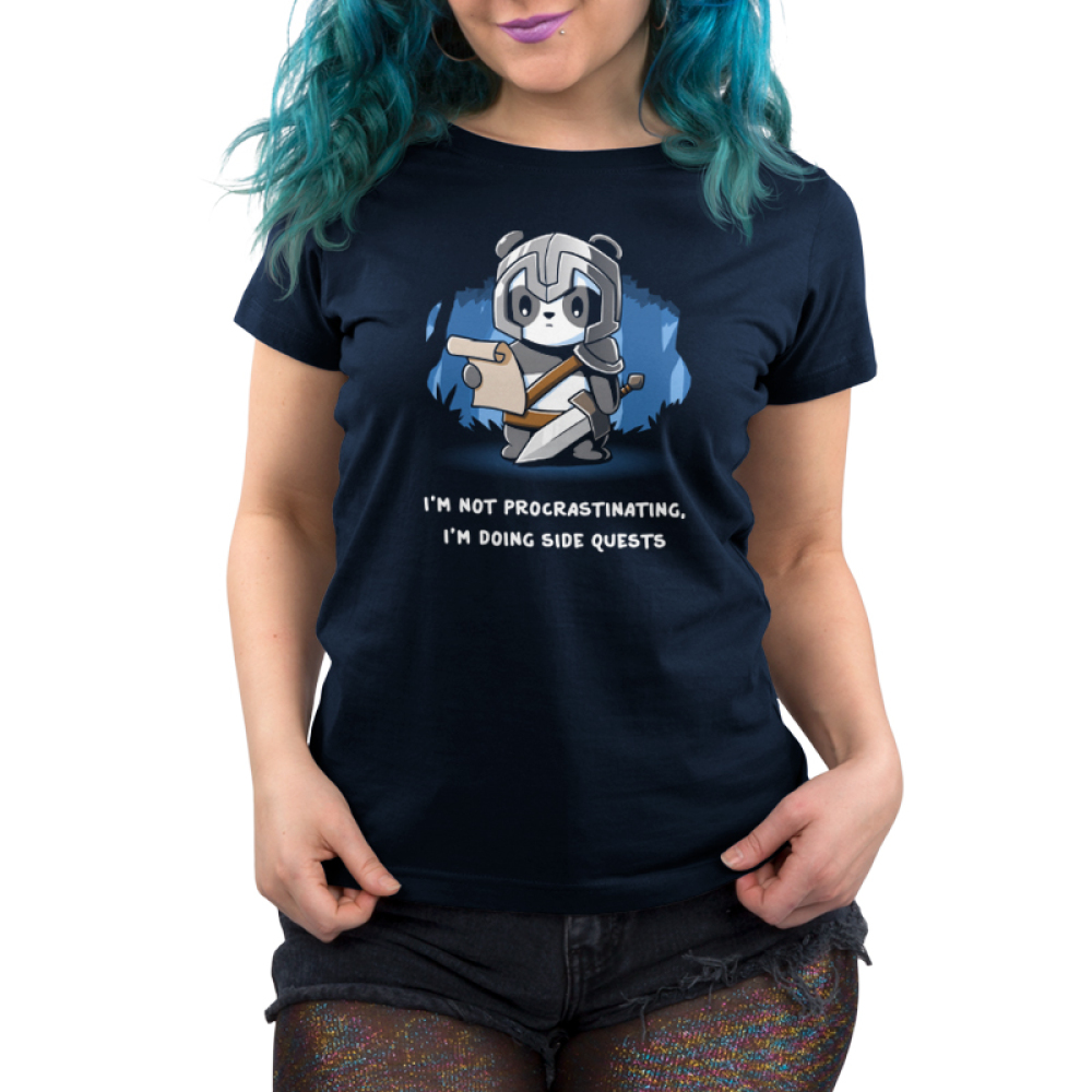 I'm Doing Side Quests Women's t-shirt model TeeTurtle navy t-shirt featuring a panda in a helmet holding a sword and looking down at a scroll in a forest