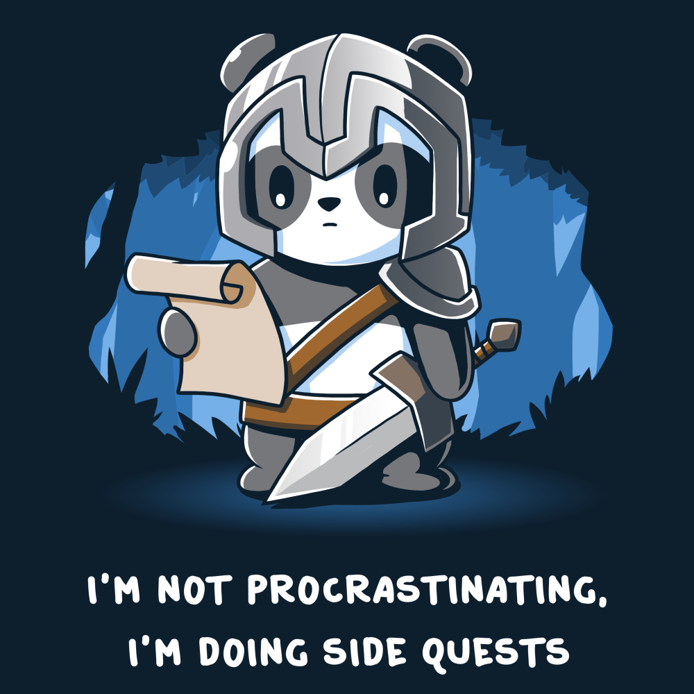 I'm Doing Side Quests t-shirt TeeTurtle navy t-shirt featuring a panda in a helmet holding a sword and looking down at a scroll in a forest