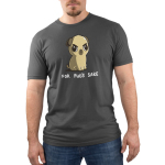 For Pug's Sake Men's t-shirt model TeeTurtle charcoal t-shirt featuring an angry looking pug sitting down