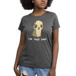 For Pug's Sake Women's t-shirt model TeeTurtle charcoal t-shirt featuring an angry looking pug sitting down