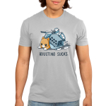 Adulting Sucks Men's t-shirt model TeeTurtle silver t-shirt featuring a tired looking cat laying down with a pile of stuff on top of him including a laundry basket, pots and pans, a clock, stack of books, and more