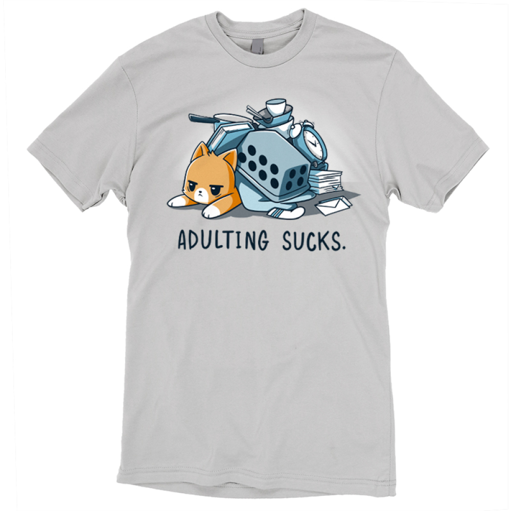 Adulting Sucks t-shirt TeeTurtle silver t-shirt featuring a tired looking cat laying down with a pile of stuff on top of him including a laundry basket, pots and pans, a clock, stack of books, and more